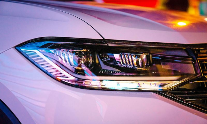 Headlights of the T-Cross at night
