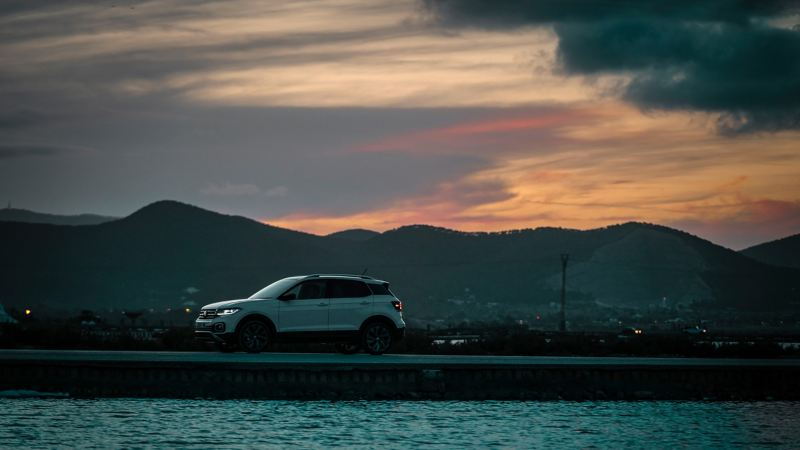 The T-Cross in the evening light in Salinas, Ibiza
