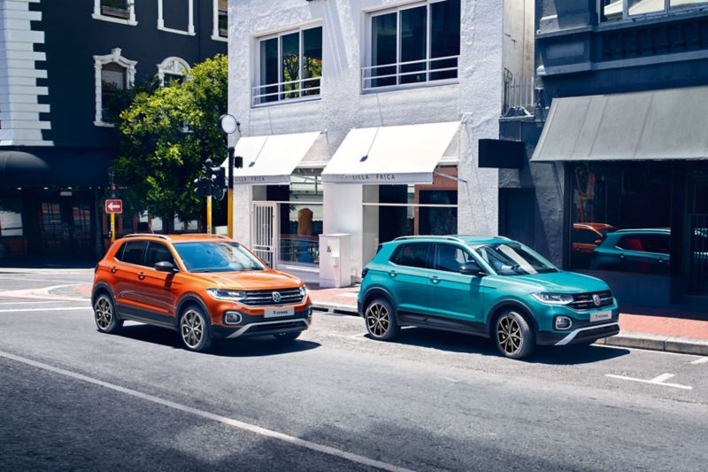 "VW T-Cross in Makena Turquoise and with ""Energetic Orange"" design package"