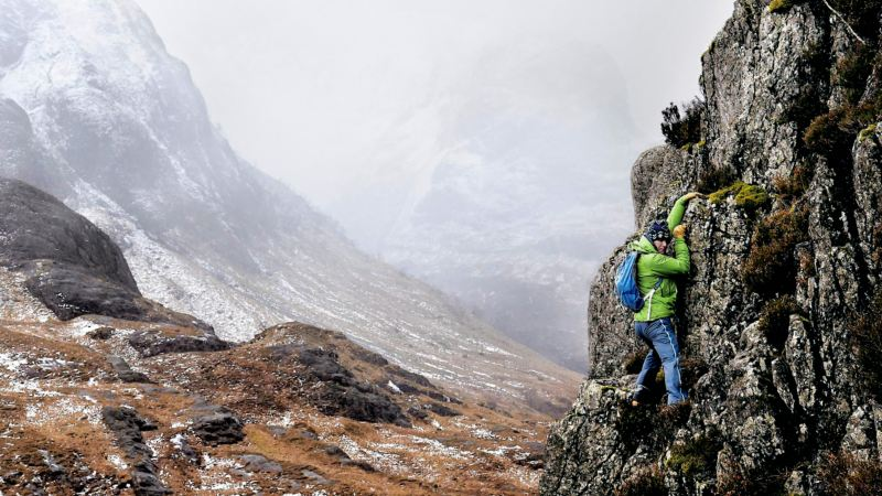 Andy Nelson on the steep face in Glen Coe