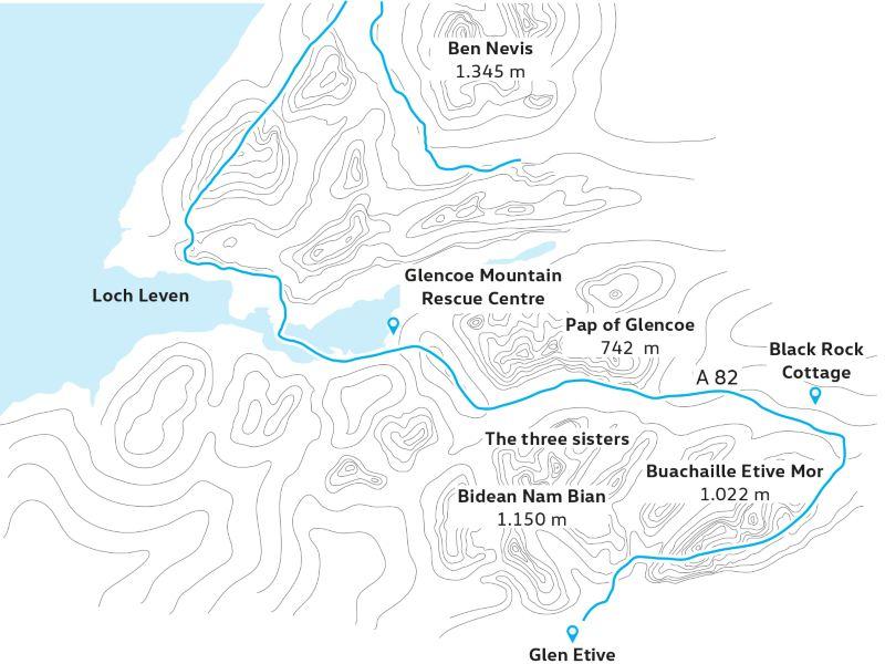 Karte Glen Coe i Glen Etive