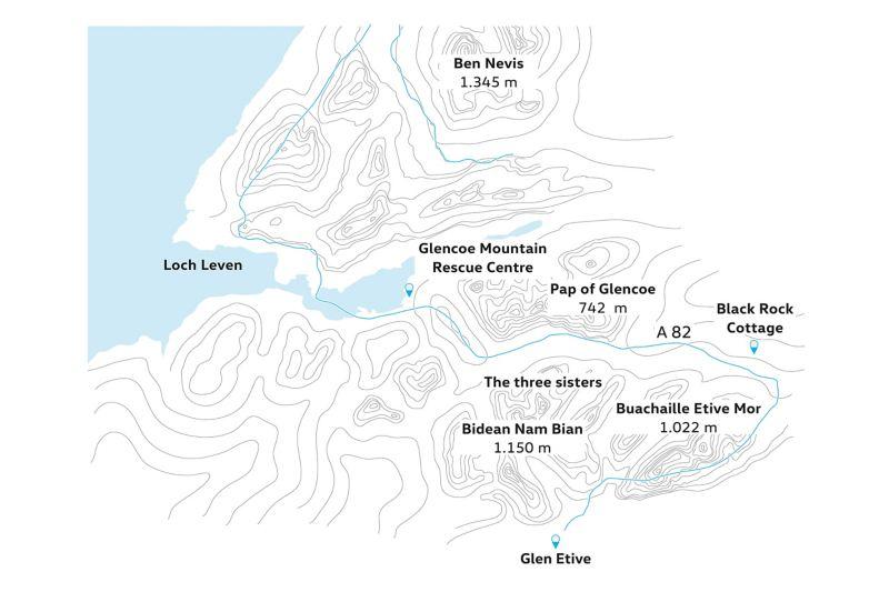 Karte Glen Coe und Glen Etive