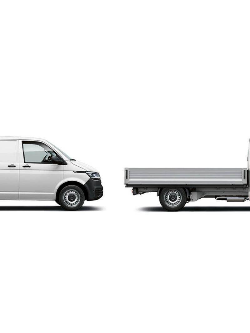 2 versões da carrinha VW Transporter: furgão e caixa aberta.