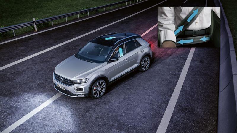 Schematische Darstellung eines Volkswagen mit Detail auf den Gurtstraffer
