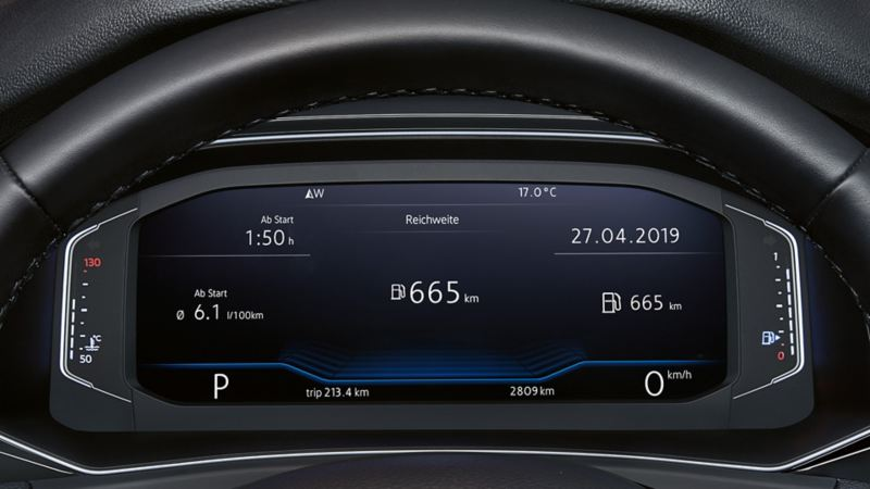 View of the Active Info Display through the steering wheel