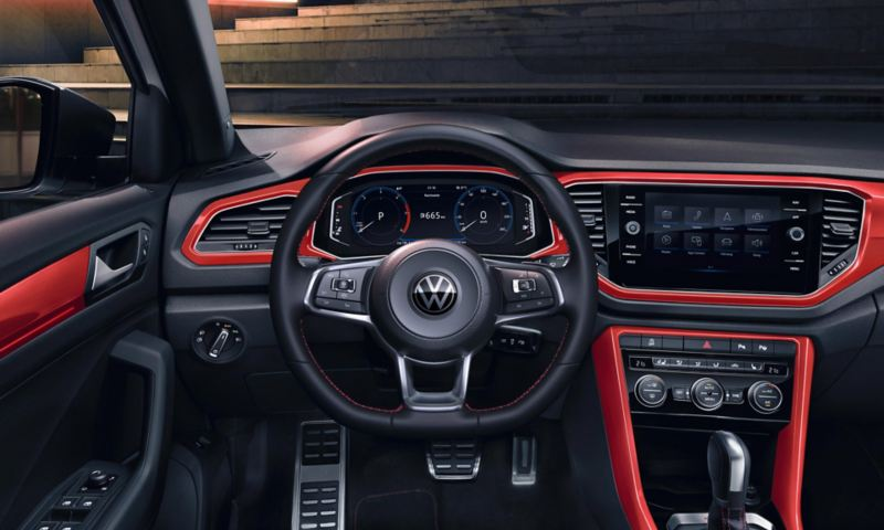 T-Roc Style interieur met Dash Pads in Flash Red