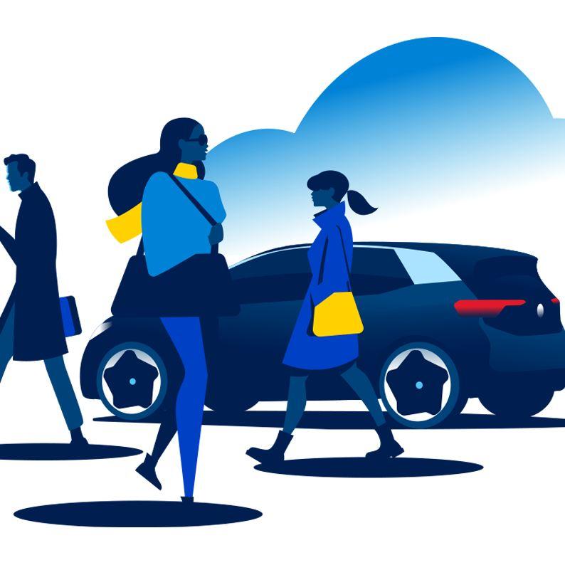 Passanten gehen an einem Volkswagen ID.3 vorbei.