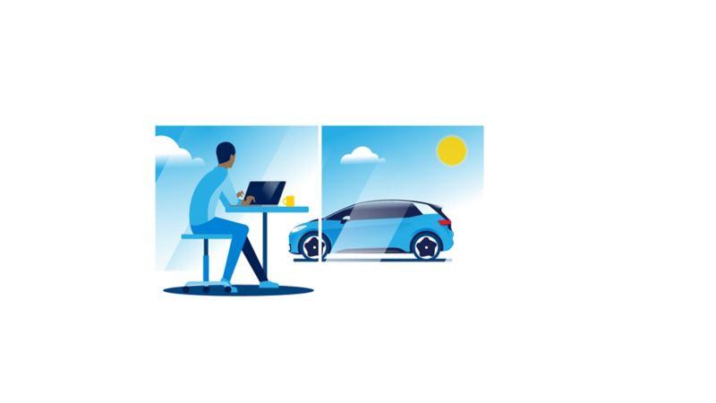 Ein Mann arbeitet und hat seinen Volkswagen ID.3 im Blick.