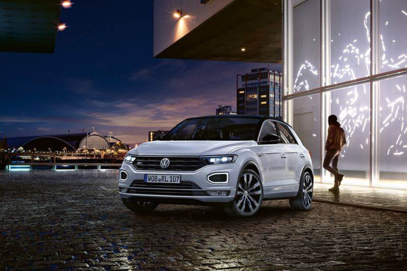 VW T-Roc with R-Line exterior standing in front of a building