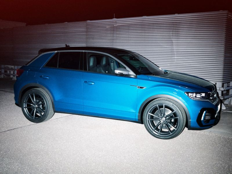 VW T-Roc R stands on a street, side view