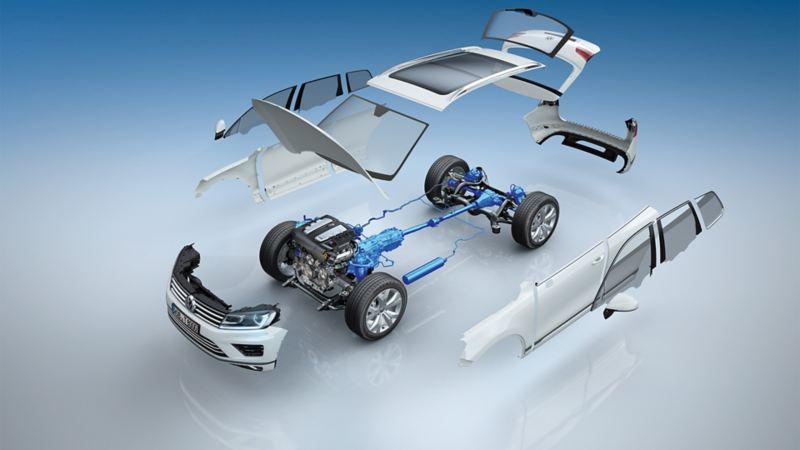Schematyczne przedstawienie mechanizmu różnicowego Torsen jako elementu napędu na cztery koła 4MOTION w VW Touaregu