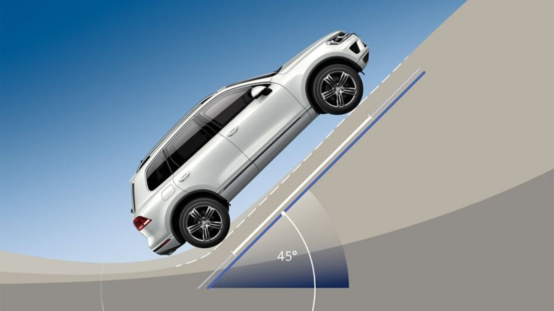A VW Touareg climbs a road with a 45° gradient
