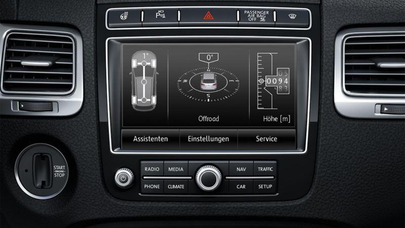 Darstellung der Offroad-Navigation im Boardcomputer des VW Touaregs