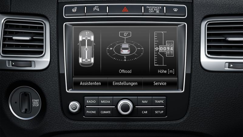 Image of the offroad navigation system in the on-board computer of the VW Touareg