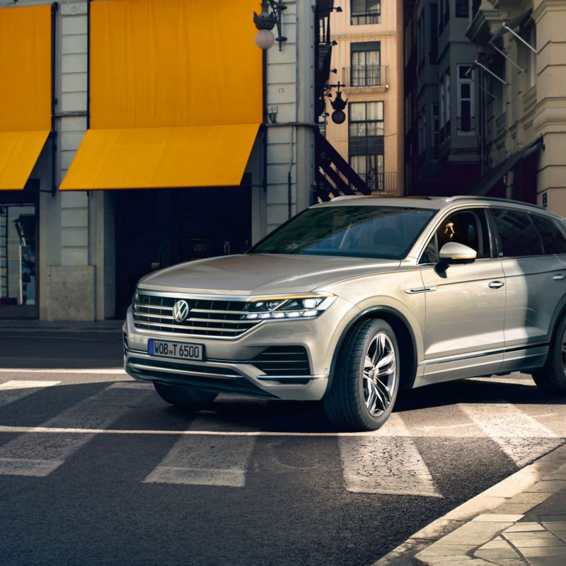 VW Touareg One Million driving on the streets of a big city