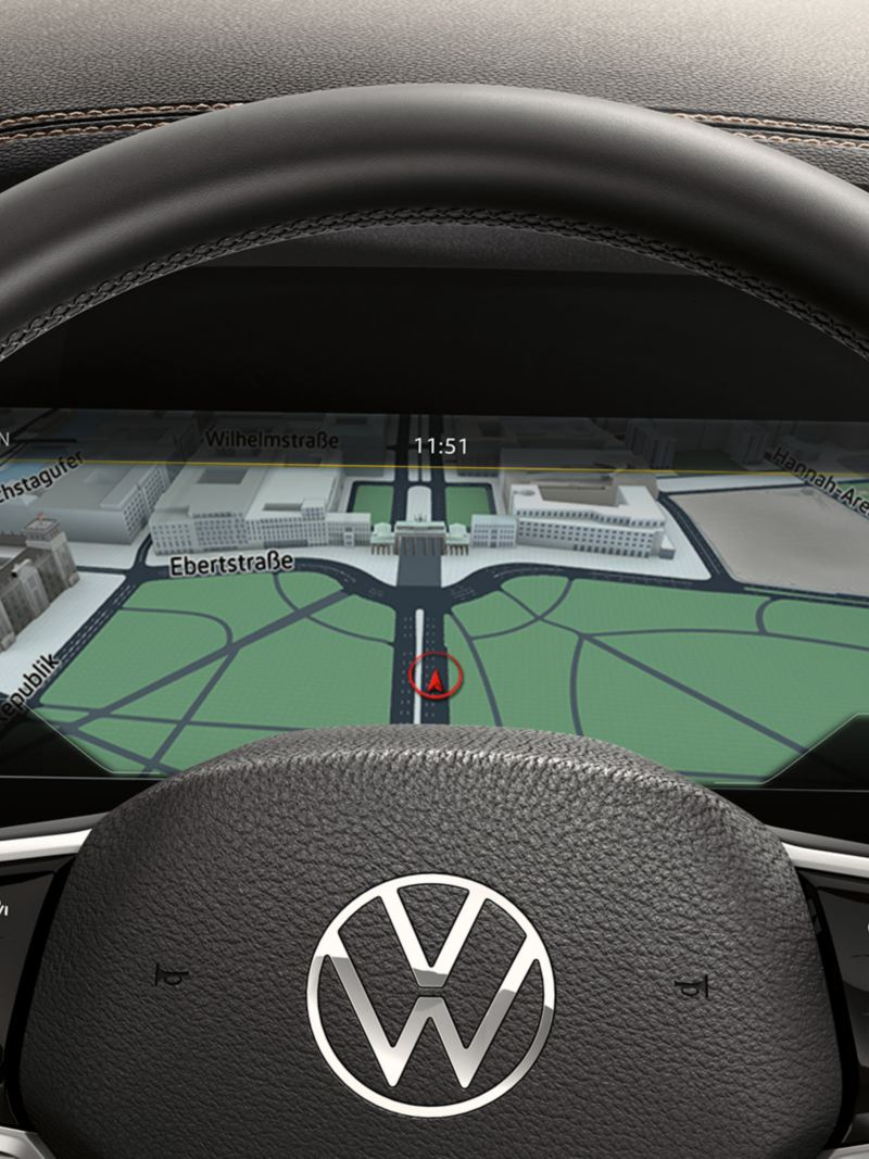 View of the Digital Cockpit in the VW Touareg through the steering wheel
