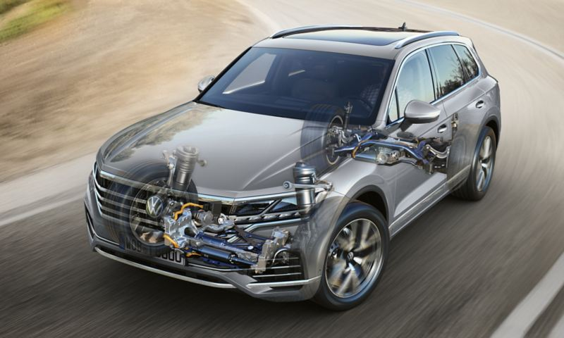 Front view of VW Touareg while driving