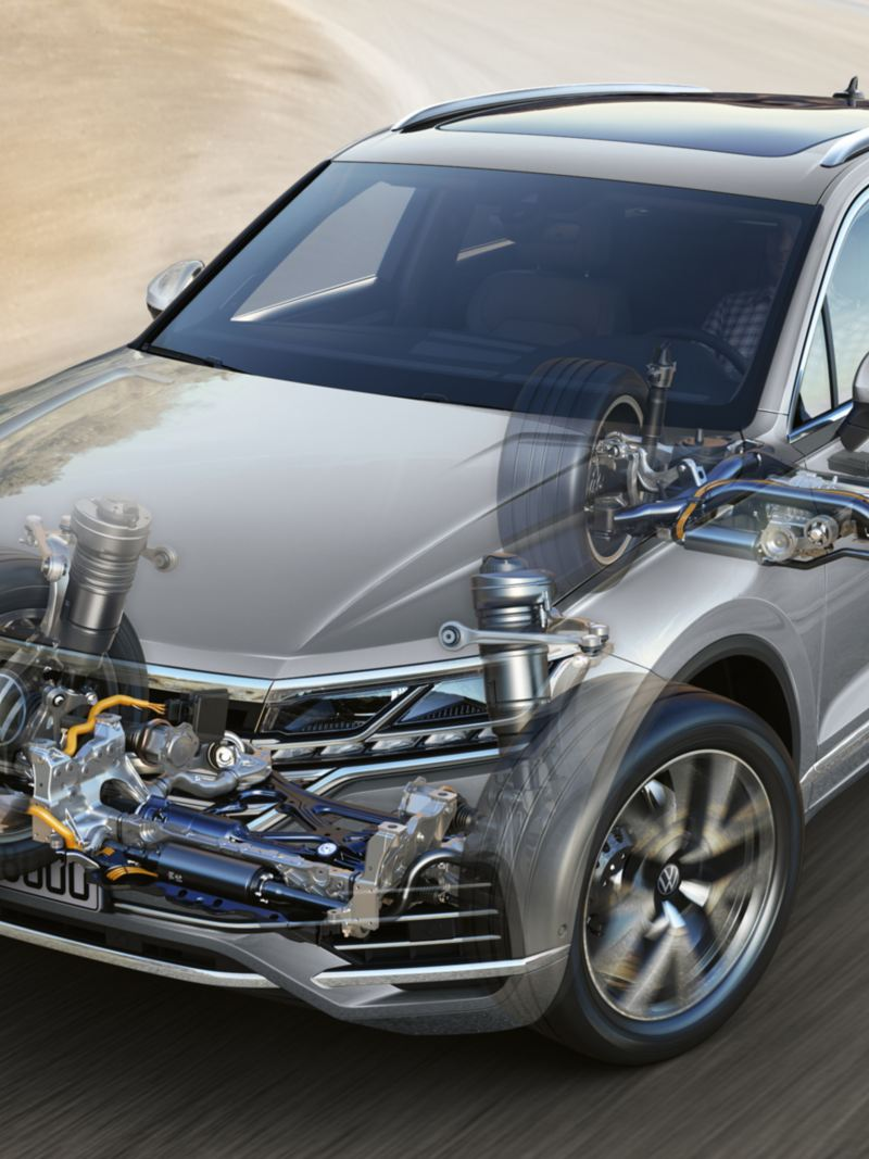 Graphic showing how the active stabilisers work in the VW Touareg