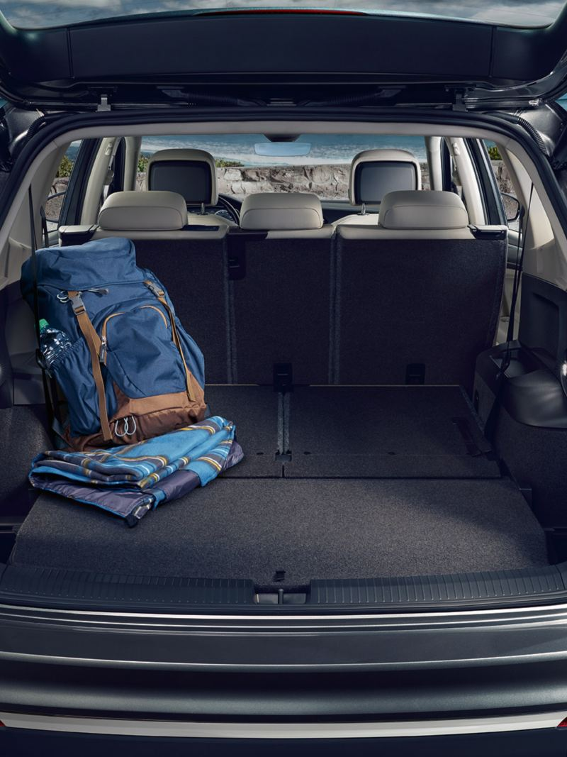 Boot of the VW Tiguan Allspace with open tailgate  and flat boot floor