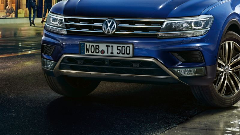 View of VW Tiguan with underbody panelling from the front