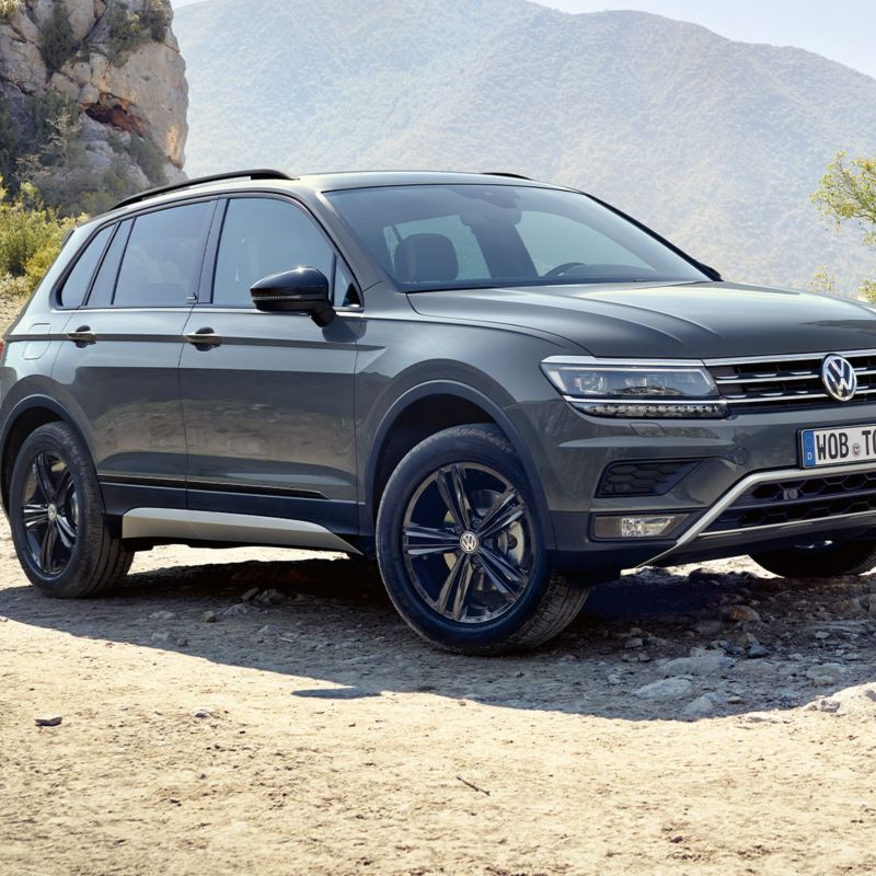VW Tiguan Offroad stands next to a steep stone wall