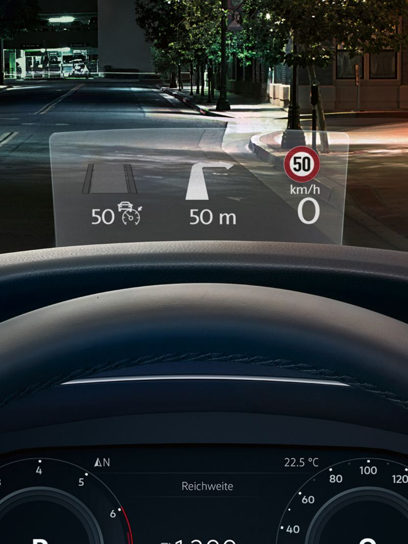 Volkswagen Tiguan Head-up-Display (HUD).