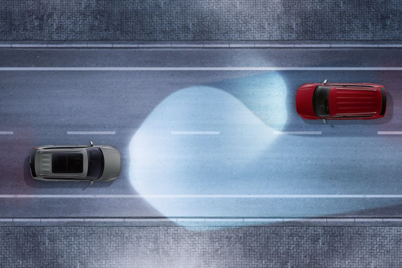 Illustration of a VW Tiguan Allspace driving on a road, lines symbolize the Lane Assist
