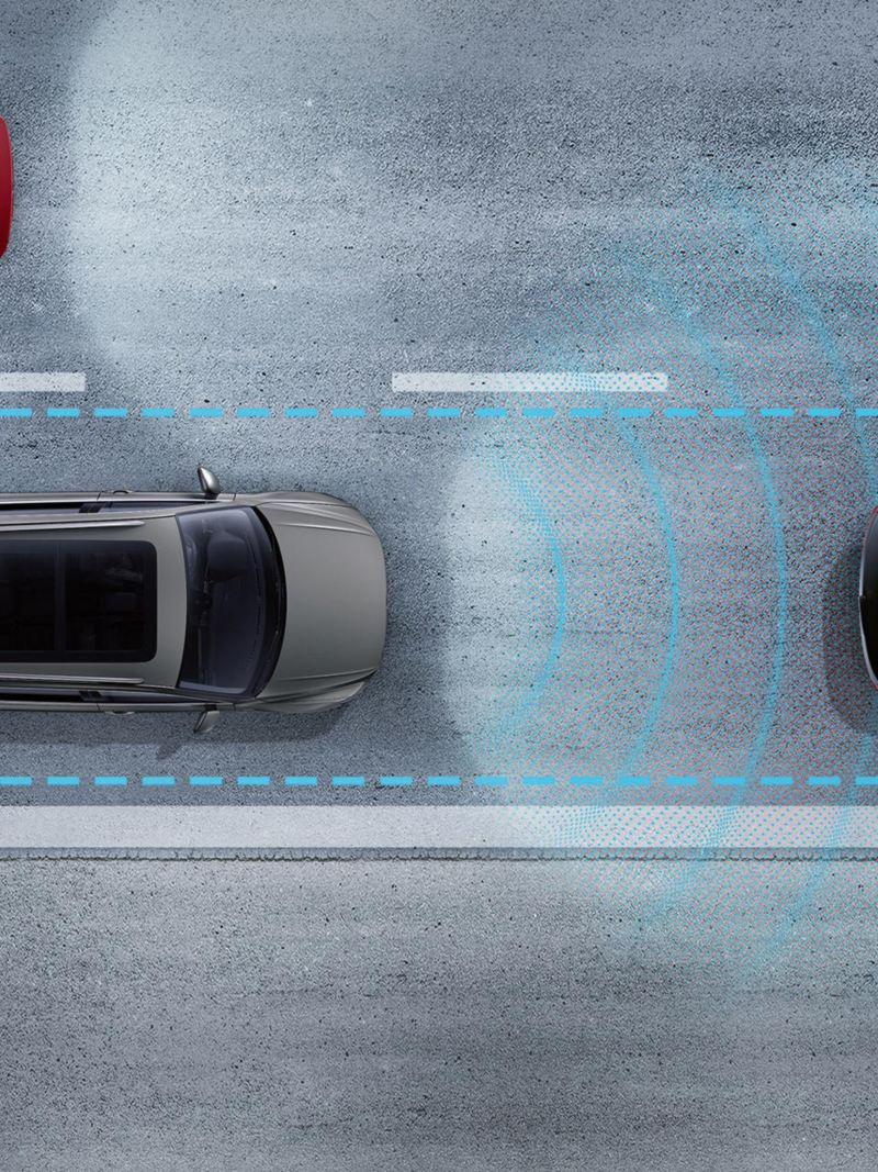 Illustration of a VW Tiguan Allspace driving on a road, lines symbolize lane departure warning system and spacers