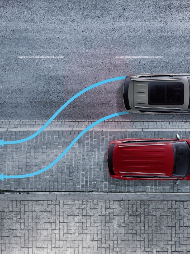 Illustration of a VW Tiguan Allspace parking sideways