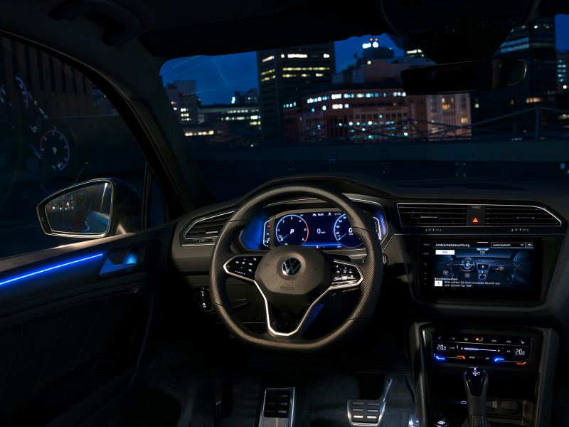 Darkened interior with blue ambient lighting