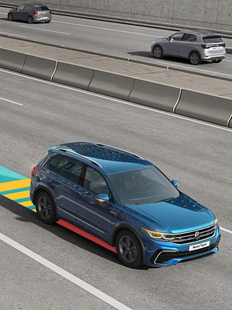Immagine grafica: il sistema di assistenza Emergency Assist di Volkswagen Nuova Tiguan.