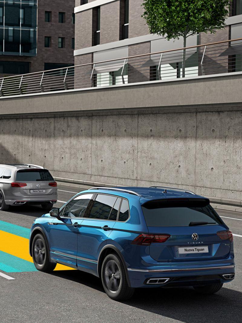 Immagine grafica: il sistema di assistenza Travel Assist di Volkswagen Nuova Tiguan
