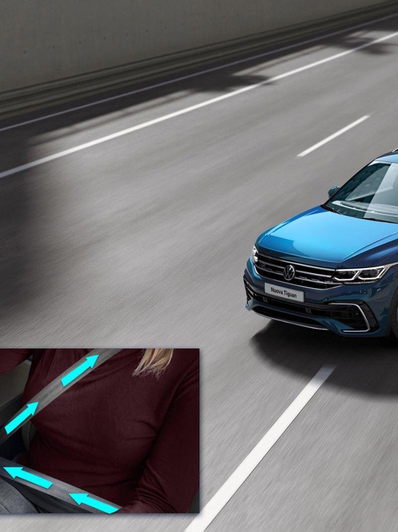 Immagine grafica: il sistema proattivo di protezione degli occupanti di Volkswagen Nuova Tiguan.