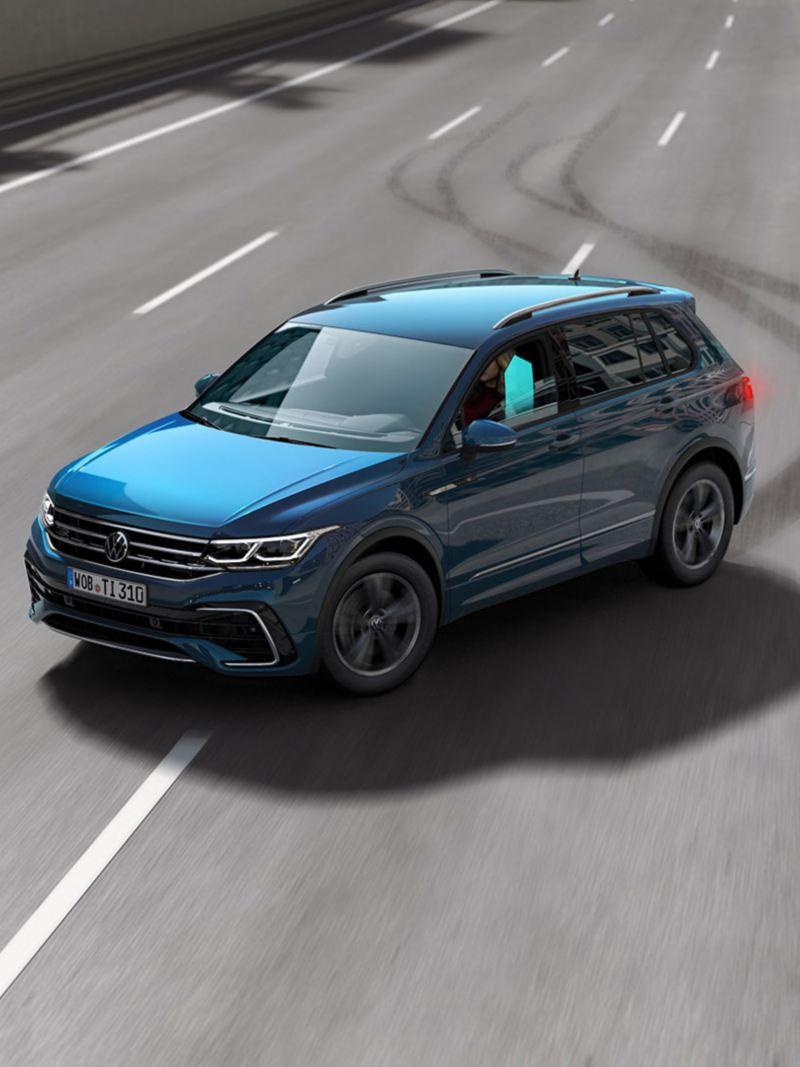 Illustrasjon: Proaktivt passasjerbeskyttelsessystem i VW Volkswagen Tiguan SUV