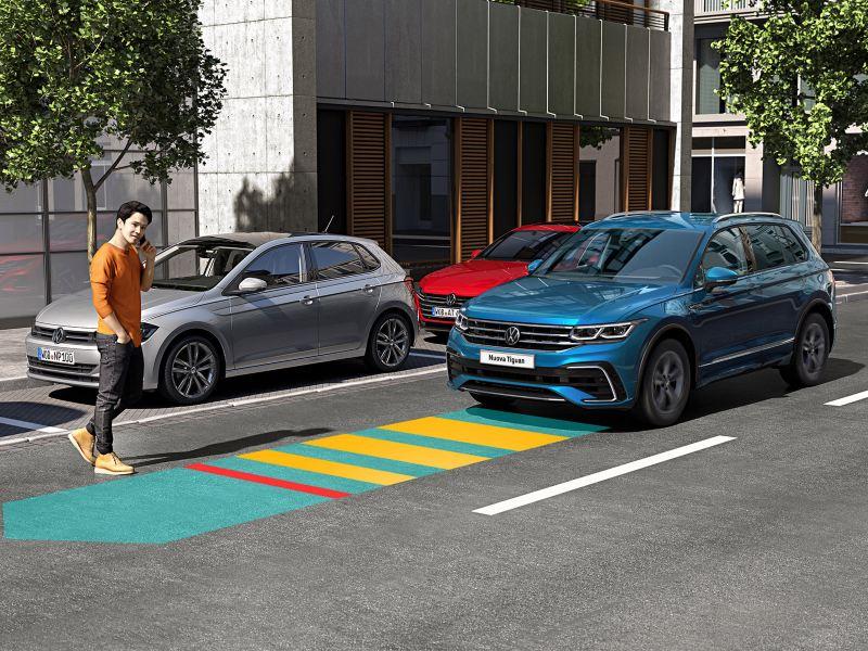 Immagine grafica: il sistema di assistenza Front Assist di Volkswagen Nuova Tiguan.