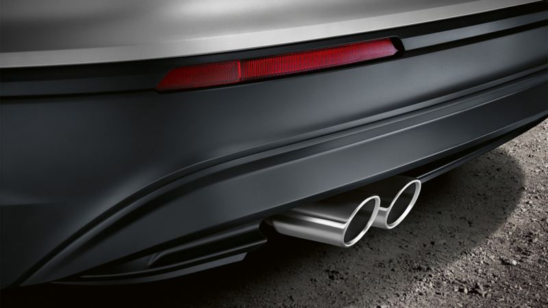 A Volkswagen viewed from behind, exhaust detail