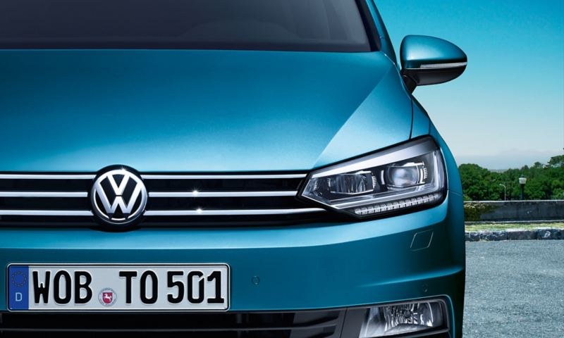 Front of the VW Touran with LED headlight and daytime running light