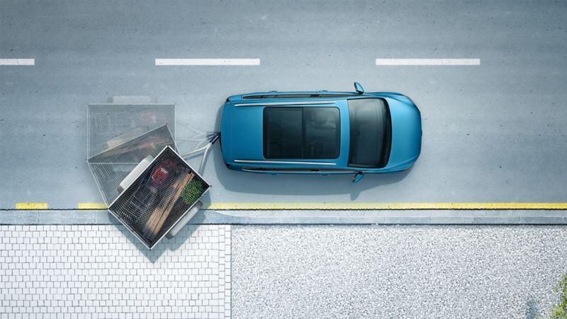 """Schematische Darstellung des Anhängerrangierassistenten """"Trailer Assist"""" in einem VW Touran"""