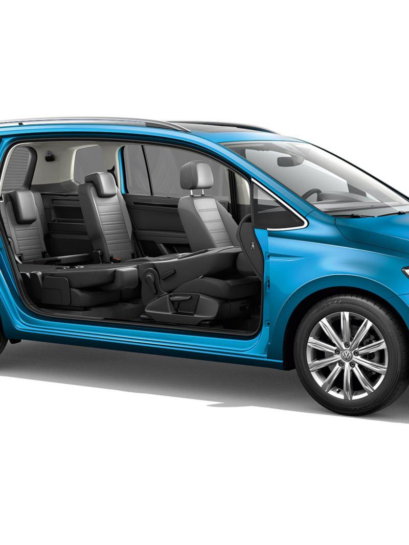 Πλαϊνή όψη ενός Volkswagen Touran χωρίς πόρτες κοιτάζοντας τις τρεις σειρές καθισμάτων