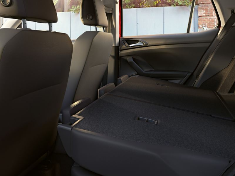 View of folded rear seats of the VW T-Cross