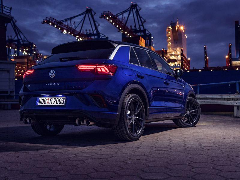 VW T-Roc R, achteraanzicht schuin