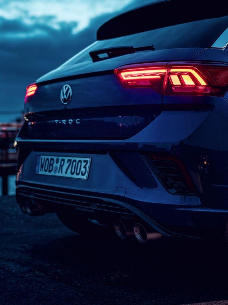 VW T-Roc R, detailbeeld uitlaatpijpen