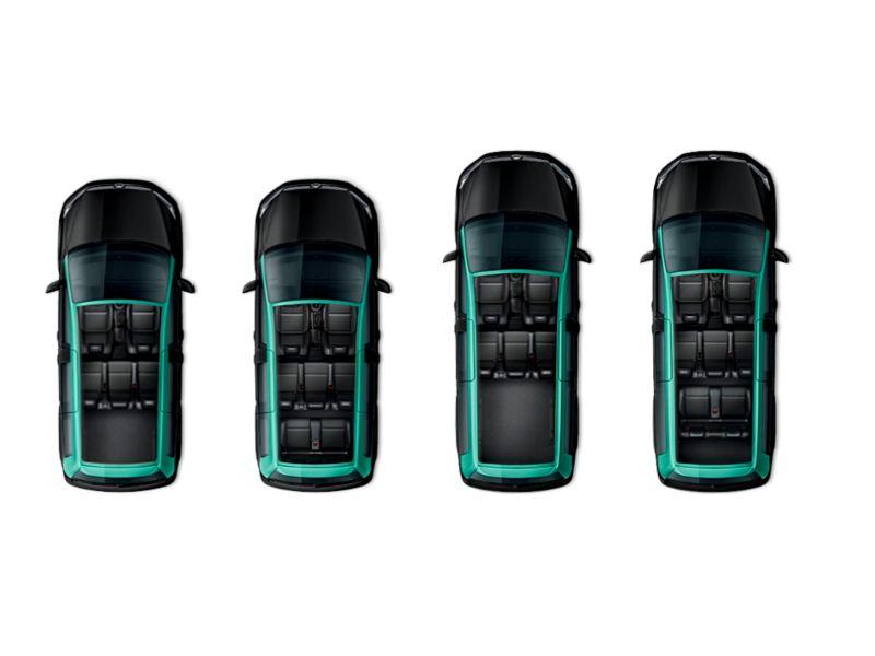 Caddy Kombi e Caddy Kombi Maxi adaptadas para transporte de Táxi.