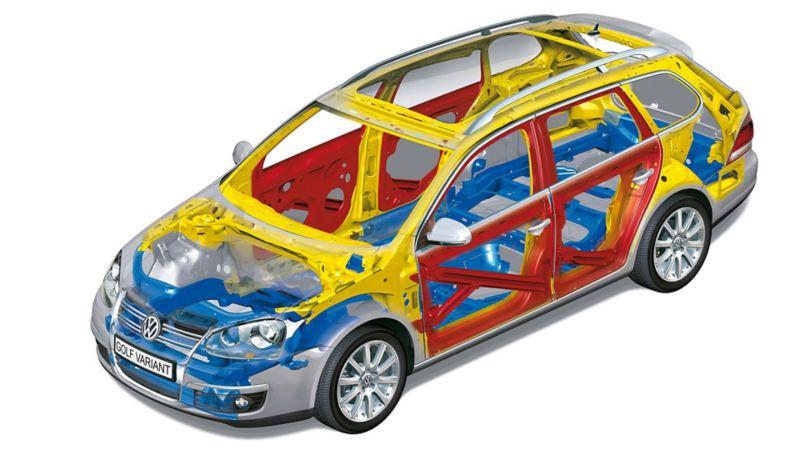 Przeźroczysty Volkswagen z widocznymi osiami