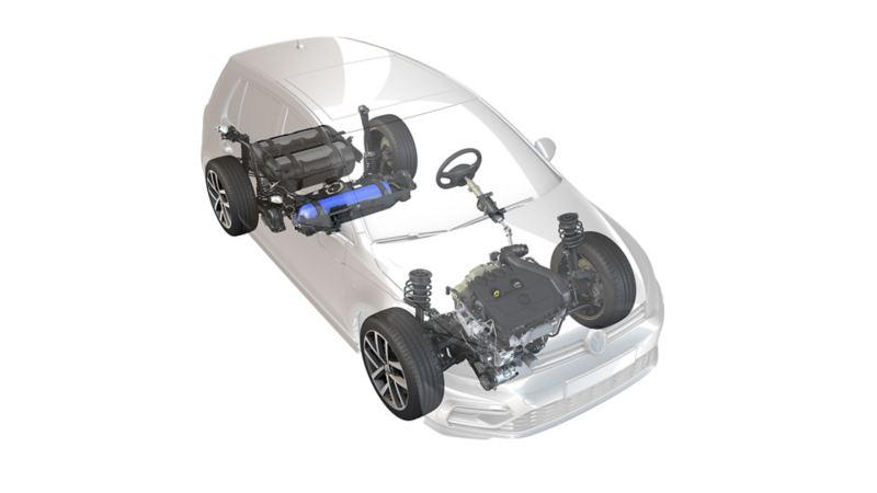 Abbildung eines transparenten VW Fahrzeugs, Erdgas Antrieb ist sichtbar