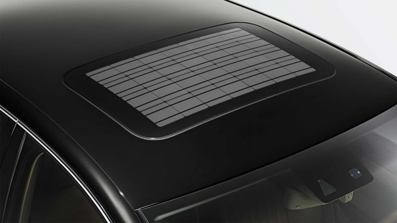 The roof a Volkswagen with solar sliding/tilting sunroof viewed from above