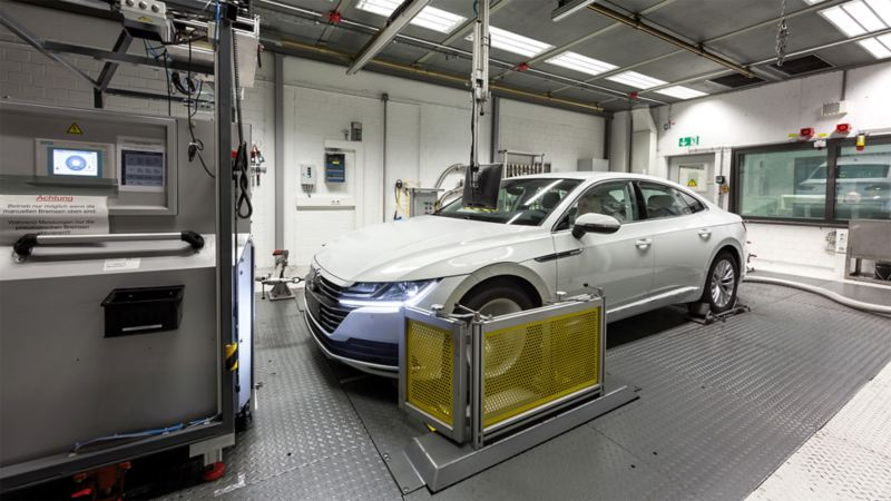 A Passat on the test bed.