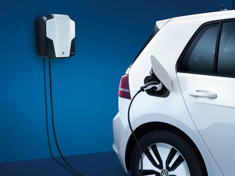 Volkswagen Golf GTE charging in a home garage