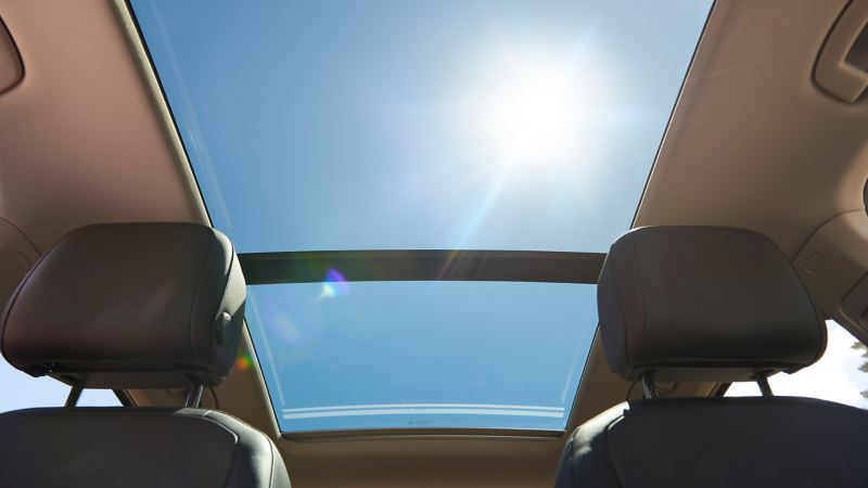 View through the panoramic roof of Tiguan Allspace