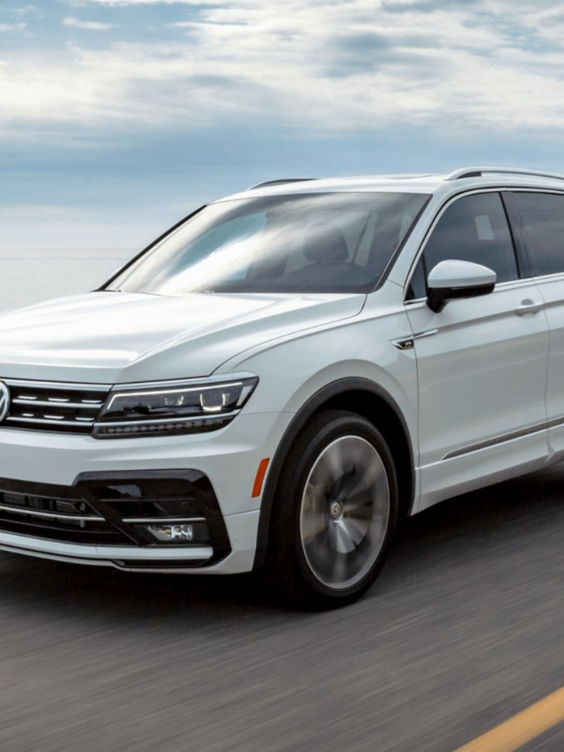 The 2021 Tiguan in action, link out to 2021 Tiguan model page